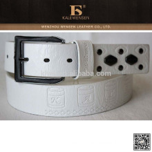 Made in China PU men white leather belt