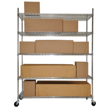 Adjustable Chrome Wire Metal Warehouse Rack Numbering System with Wheels (CJ12045180A5CW)