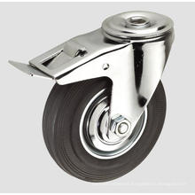 Black Rubber Industrial Caster with Whole Brake