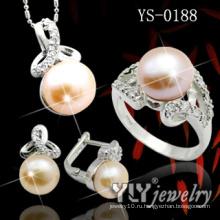 925 комплект ювелирных изделий стерлингового серебра с оранжевой жемчужиной (YS-0188)