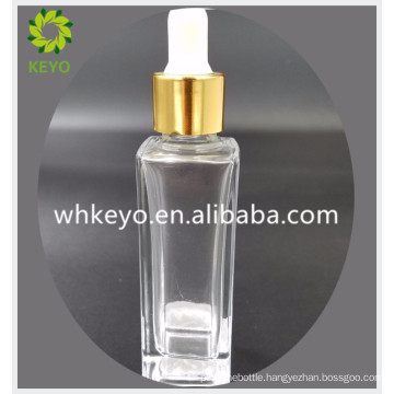 30ml best selling make up packaging transparent empty cosmetic container square glass dropper bottle with rubber dropper
