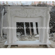 White Flower Surround Marble Fireplace (SY-MF045)