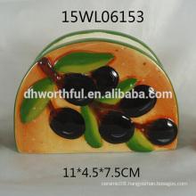 Popular design ceramic napkin holder with olive pattern