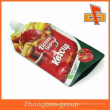 Embalagem de papelão biodegradável eco líquido saco de plástico bico para tomate ketchup