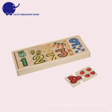Pädagogische Kinder Obst und Zahl Spielzeug Hölzerne Zählen Puzzle Karten