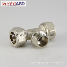 Brass Compression Fitting with Male Thread Tee