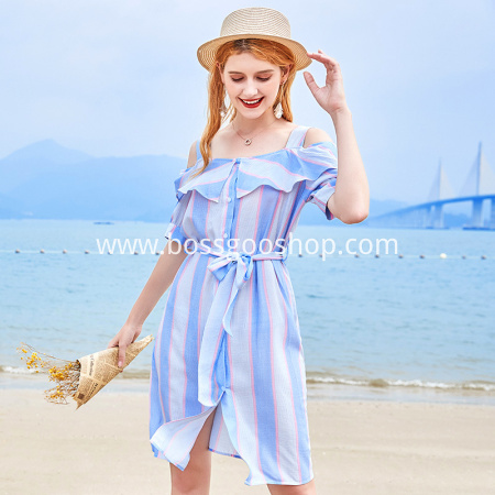 2018 Spaghetti Strap Dress Elegant Party Dress Slash Neck Sash Buttons Stripe Women off-the-shoulder sundress