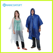 Capa de lluvia reutilizable plegable de PVC transparente Rvc-089