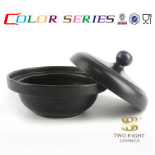 Ceramic cookware set cheap black round frying pan with cover