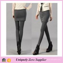 Entrega rápida moda feminina preto algodão saia perneiras (sr8202)