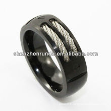Fashion jewelry Tungsten Ring inlay cable black plating Fashion in Asia's Jewelry Fair