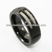 Moda jóias Tungsten Ring inlay cabo chapeamento preto Moda na Feira de Jóias da Ásia