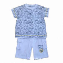 100% cotton jersey baby set, baby T-shirt and baby pants