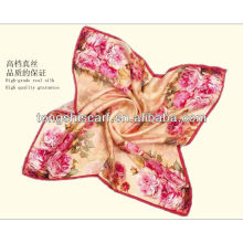 Fashion digital printed silk square scarf for lady