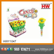Juguetes plásticos de la flor de Sun de los niños baratos con los juguetes suaves del caramelo (caja de 12pcs / Display)