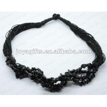 Schwarze Onyx Chip Edelstein Halskette