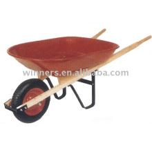 Bandeja de Metal quadrada 8 Handle Wheel carrinho de mão (WH4400), rodas de poder, carrinho de jardim de madeira, carrinho de mão de energia