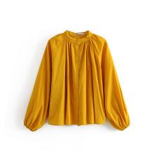 Blusas largas sueltas con cuello alto para mujer