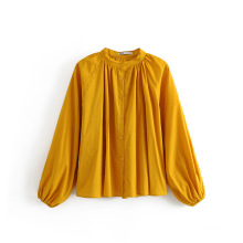 Новые женские свободные длинные блузки с воротником-стойкой