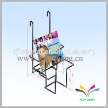 2 lines hanging style black wire wall metal book rack for school library