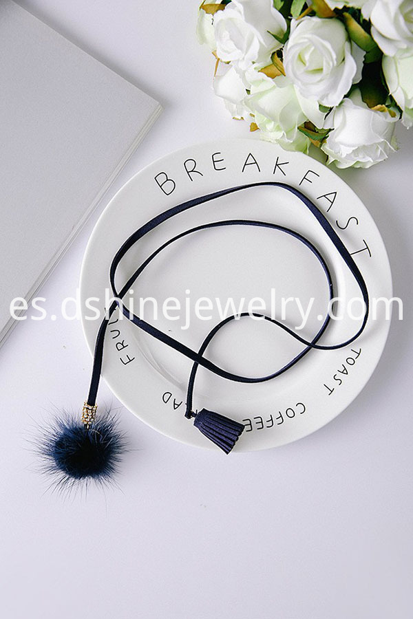 Black Velvet Leather Tassel Necklaces