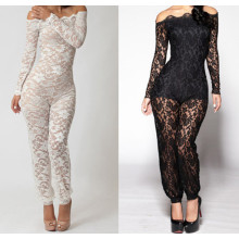 New Design Floral Lace Body Lining Off Shoulder Sexy Black Lace Jumpsuit