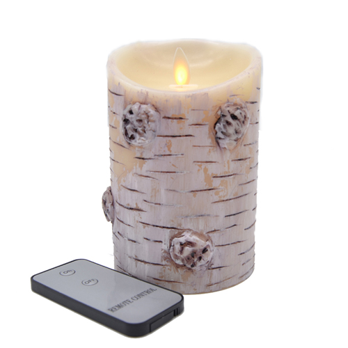 birch candle with remote