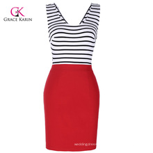 Grace Karin Women Sleeveless V-Neck Hollowed Back Stripe Pencil Dress CL010446-1