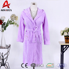 Good quality solid color handmade coral fleece hooded bathrobes