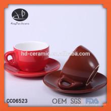 Conjunto de xícara de café expresso, copo de café cerâmico colorido e conjunto de pires, copo de grés e pires
