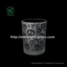Coupe de bougie en verre à double paroi couleur par SGS (KLB130916-192)
