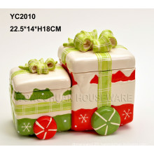 Hand-Painted Ceramic Christmas Gift Conjoined Box