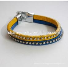 Vogue Couro pulseira de couro pulseira de cor dupla com studs pulseira PSL030