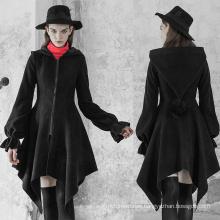 OPY-350  PUNK RAVE women hooded wool coat  Irregular Hem Woolen Coat with Hat