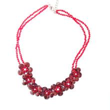 Luxo artesanal vermelho facetada zircônia colar declaração flor para festa ou show