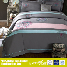 Popular colour blending grey and pink 40s*40s fitted sheet flat sheet bed spread