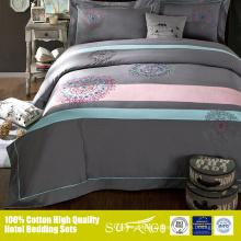 Mistura de cores populares cinza e rosa 40s * 40s lençol de cama folha plana