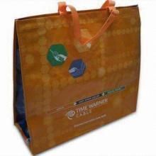 Promotional Tote Bag, Made of Laminated OPP Film with Woven Cloth, Measuring 40 x 35 x 15cm
