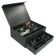 Caixas de empacotamento magnéticas rígidas pretas do presente dos óculos de sol do fechamento