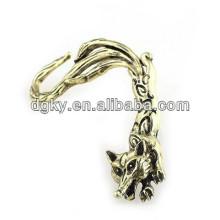 Bronze, liga, raposa, orelha, ossos, anel, orelhas, penduradas, orelha, clipe