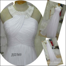 JJ2583 New Arrival Free Shipping Beaded Halter Chiffon Bridal Wedding Dress