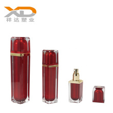 High quality spray paint red  square acrylic cosmetic bottle and cream jar  for personal care with customized