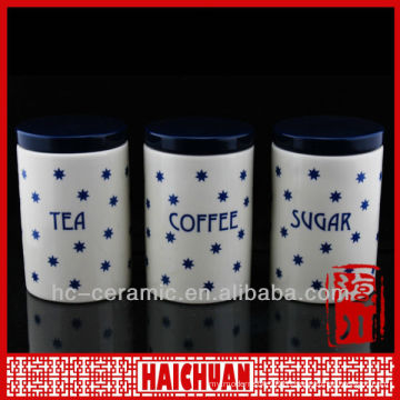 Ceramic kitchen tea coffee sugar canister, airtight canister