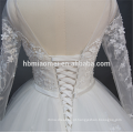 Luxo frisado 2018 nova moda até o chão vestido de casamento inchado mangas compridas com design de corda
