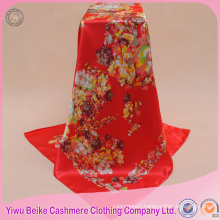 High quality customized hand-rolled edges red floral cheap satin scarf