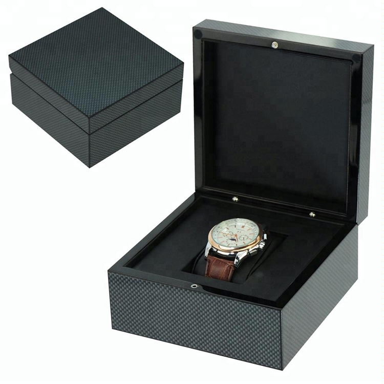 Black Gift Box Packaging Single Wood Watch Box