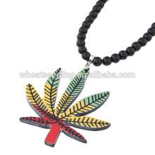 Акриловые черные бусы черепа ожерелье кленовый лист свитер цепи