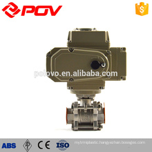 screw thread electric ball valve with Three piece