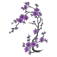 Violet Cherry Blossom Flowers Patch bordado