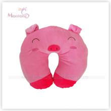 Pink Pig Cartoon Shaped Neck Rest Cushion